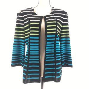 Ming Wange Acrylic Knit Striped Cardigan